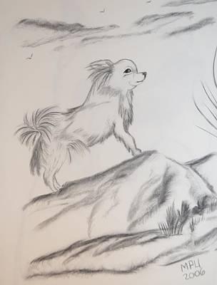 Art Print featuring the drawing Aye Chihuahua by Maria Urso