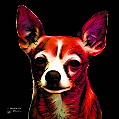 Chihuahua Digital Art - Aye Chihuahua - Red by James Ahn
