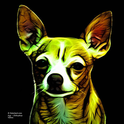 Chihuahua Digital Art - Aye Chihuahua - Yellow by James Ahn