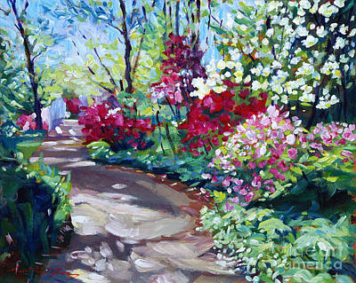 Spring Scenery Painting - Azalea Pathway by David Lloyd Glover