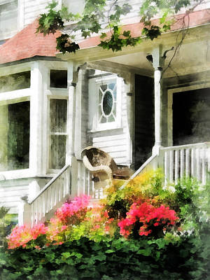 Photograph - Azaleas By Porch With Wicker Chair by Susan Savad