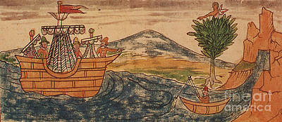 Duran Duran Photograph - Aztec Guard Spots Spanish Ship, 1519 by Photo Researchers