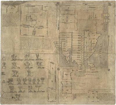 Aztec Map, 16th Century Art Print