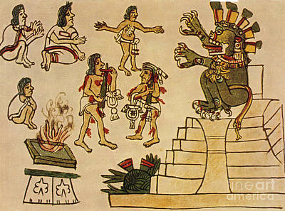 Aztec Priests Appease Mictlantecuhtli Print by Photo Researchers