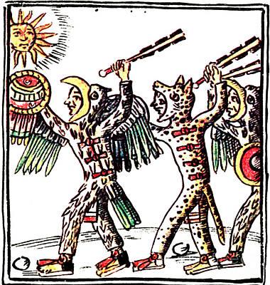 Historia Wall Art - Photograph - Aztec Warriors, Codex Florentine, 16th by Photo Researchers