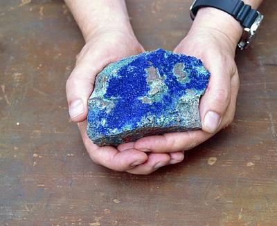 Azurite Mineral Sample Art Print by Martin Bond