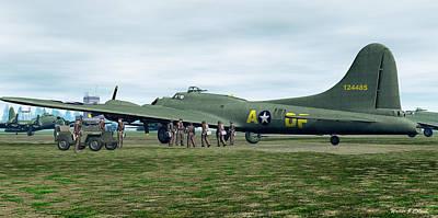 Digital Art - B-17 Bomber Crew by Walter Colvin