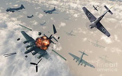 Digital Art - B-17 Flying Fortress Bombers Encounter by Mark Stevenson