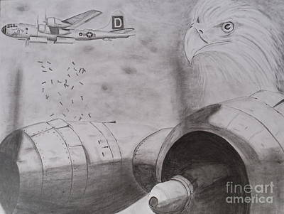 Drawing - B-29 Bombing Run Over Europe by Brian Hustead