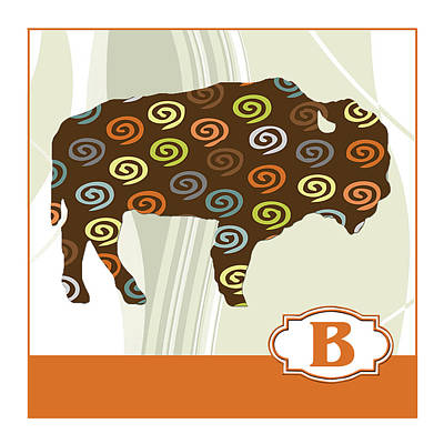 Education Painting - B Is For Bison by Elaine Plesser