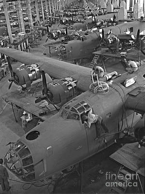 Twin Tailed Photograph - B24 War Bird Assembly 1943 by Padre Art