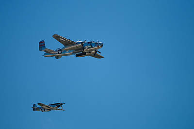 Photograph - B25 Mitchell Bomber With Corsair Mustang Fighter Escort by Paul Mangold
