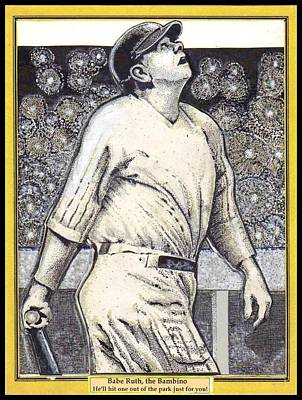 Print featuring the mixed media Babe Ruth Hits One Out Of The Park  by Ray Tapajna