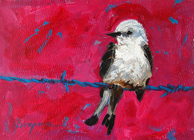 Commercial Licensing Painting - Baby Bird On A Wire by Patricia Awapara
