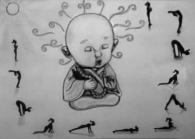 Buddha Sketch Drawing - Baby Buddha by Shashi Kumar