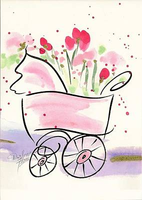 Drawing - Baby Buggy Note Card by Darlene Flood
