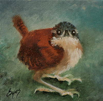 Baby Carolina Wren 2 Art Print by Linda Eades Blackburn