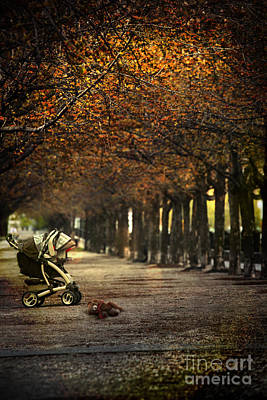 Baby Carriage With Toy Bear Alone On Street Art Print by Sandra Cunningham