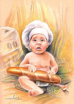 Painting - Baby Cook With Baguette by Miki De Goodaboom