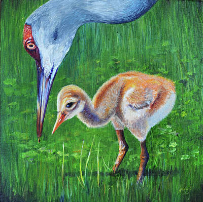 Art Print featuring the painting Baby Crane's Lesson by AnnaJo Vahle
