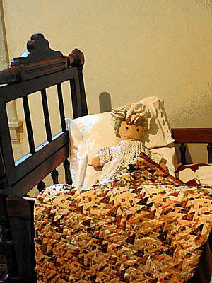 Quilt Photograph - Baby Doll In Crib by Susan Savad