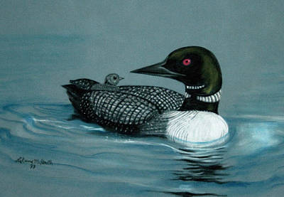 Midwest Artist Painting - Baby Loon by Rose McIlrath