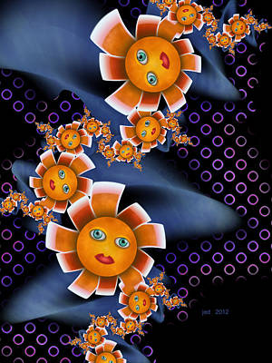 Baby Orange Flowers Art Print by Josette Dery