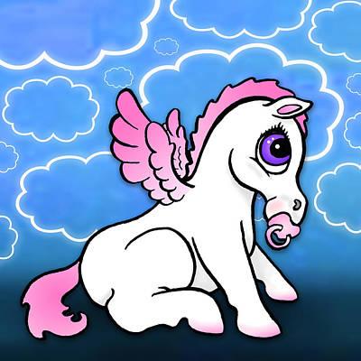 Pegasus Drawing - Baby Pegasus With Binky - Pink by Lisa A Bello