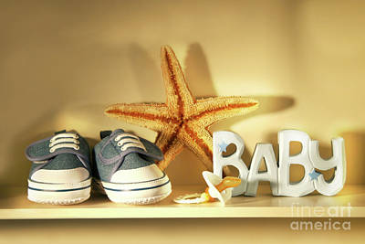 Baby Shoes On The Shelf Art Print by Sandra Cunningham
