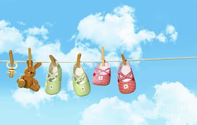 Baby Shoesr And Teddy Bear On Clothline Print by Sandra Cunningham