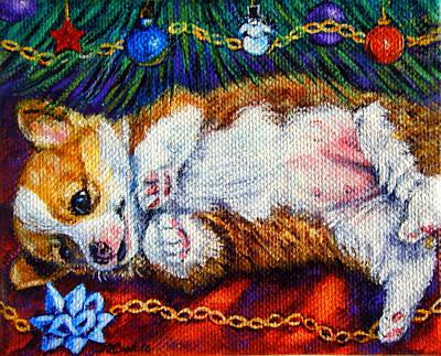 Baby's First Christmas - Pembroke Welsh Corgi Art Print by Lyn Cook