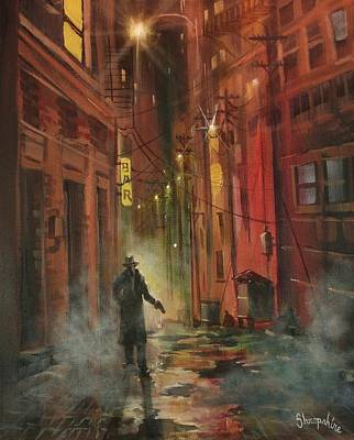 Pulp Magazines Painting - Back Alley Justice by Tom Shropshire
