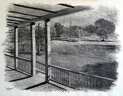 Cypress Swamp Drawing - Back Porch At Beau Bassin by Ron Landry