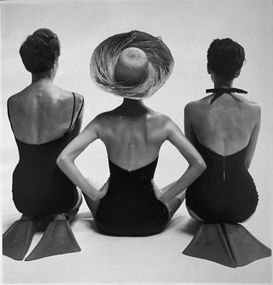 1950s Fashion Photograph - Back View Of Fashion Models In Swim by Everett