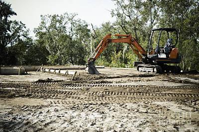 Backhoe On Construction Site Art Print by Sam Bloomberg-rissman