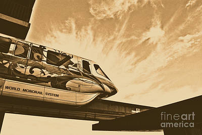 Magic Kingdom Digital Art - Backlit Disney World Monorail Leaving Contemporary Resort Walt Disney World Prints Rustic by Shawn O'Brien