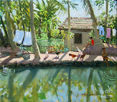 Laundry Painting - Backwaters India  by Andrew Macara