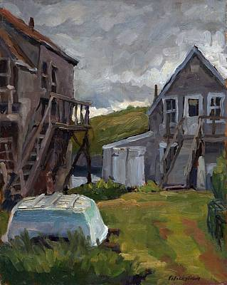 Lobster Boat Maine Painting - Backyard In Maine by Thor Wickstrom