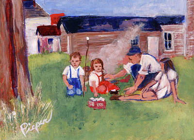Painting - Backyard Picnic In Rural Grove by Elzbieta Zemaitis
