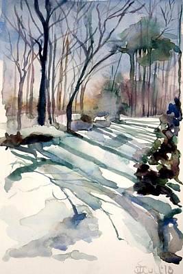 Backyard Snow Art Print by Judith Scull
