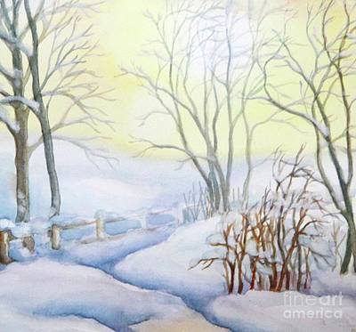 Painting - Backyard Winter Scene by Inese Poga