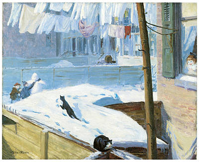 Greenwich Village Painting - Backyards Greenwich Village by John Sloan