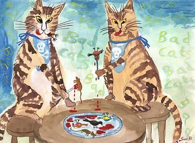 Horrible Painting - Bad Cats by Sushila Burgess
