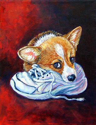 Bad Puppy - Pembroke Welsh Corgi Art Print by Lyn Cook