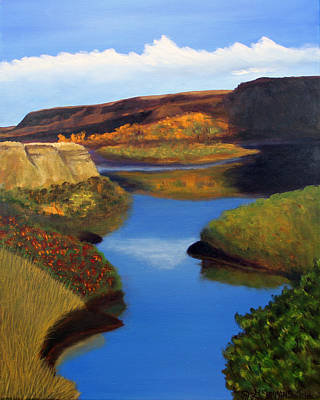 Badlands River Art Print by Janet Greer Sammons
