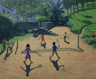 Indian Children Painting - Badminton by Andrew Macara