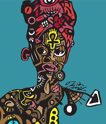 Blackart Digital Art - Badu by Kamoni Khem