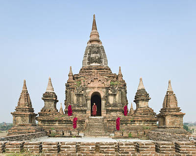 Bagan,buddhist Monks Standing On Temple Top Print by Martin Puddy