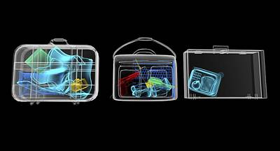 Baggage Surveillance, Simulated X-ray Print by Christian Darkin