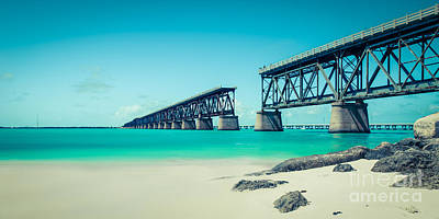 Florida Keys Train Railroad Photograph - Bahia Hondas Railroad Bridge  by Hannes Cmarits